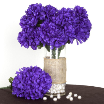 14 Chrysanthemum Mum Balls - Purple