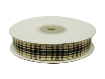 1.58cm Plaid Ribbon - Black