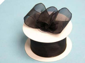 3.81cm Wired Organza-Black