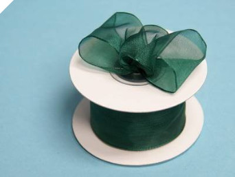 3.81cm Wired Organza-Hunter