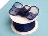 3.81cm Wired Organza-Navy Blue