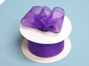 3.81cm Wired Organza-Purple