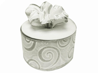 6.35cm Silver Swirl Wired White Ribbon