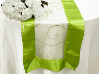 Motif Embroidery Table Runner - Apple Green