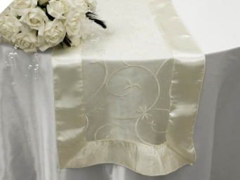 Motif Embroidery Table Runner - Ivory