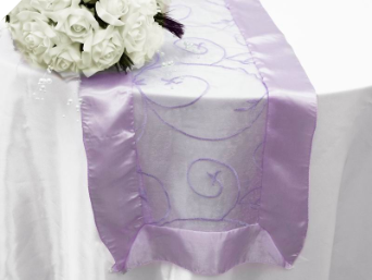 Motif Embroidery Table Runner - Lavender