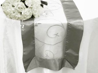 Motif Embroidery Table Runner - Silver