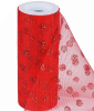 Glitter Polka Dot Tulle Roll 15.24cm x 9.14m - Red