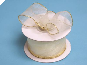 3.81cm Wired Organza-Ivory, Gold edge