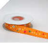 2.22cm Coloured Dots Satin Ribbon - Orange