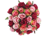 Silk Rose Bud Bouquet - Deep Rose - 30 buds