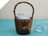 Lovely Double Hearts Flower Girl Basket - Chocolate