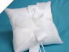 Sheer Bow Ring Pillow - White