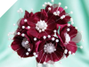 Faux Pearl Flower-Burgundy.72/pk