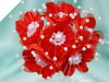 Faux Pearl Flower-Red.72/pk