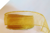 3.81cm Wired Organza-Gold, Gold edge