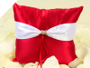 Red & White Satin Ring Pillow