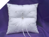 Rhinestone and Pearl Ring Pillow-White