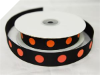 2.22cm Polka Dot Ribbon-Black with Orange