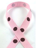 0.95 cm x 9.14metres Grosgrain Polka Dot -Pink with Chocolate dots