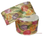 6.35cm Wired Flower Print Ribbon - Gold
