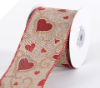 6.35cm Wired Valentine Heart Ribbon - Burlap