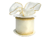 6.35 cm Wired Organza-Ivory, Gold Edge