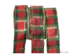 3.81cm Christmas Plaid Wired Organza Ribbon