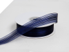 2.22 cm Satin Stripe Organza - Navy Blue