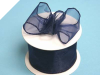6.35cm x 22.86metres Wired Organza - Navy Blue