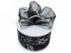 6.35cm Glittering Holly Wired Black Ribbon