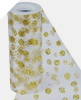 Glitter Polka Dot Tulle Roll 15.24cm x 9.14m - White with Gold Dots