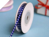 0.31 cm Satin Polka Dot - Navy Blue