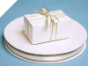 0.95 cm Satin Ribbon-White/Gold