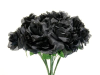 Silk Open Rose - Black 1-bunch