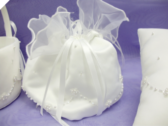 Satin & Pearls Bridal Purse - White (Pouch)