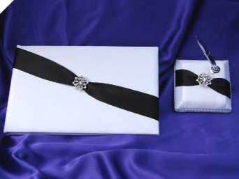 Black & White Guest Book with Pen Block