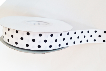 2.22cm Polka Dot Ribbon-White with Multi Black