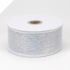 6.35cm Metallic Deco Mesh Ribbon-White
