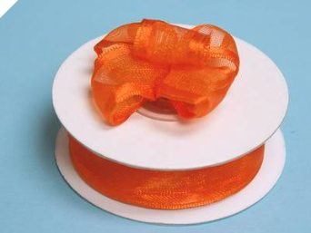 2.22cm Wired Satin Edged Organza-Coral Orange