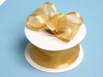 3.81cm Wired Satin Edged Organza - Gold