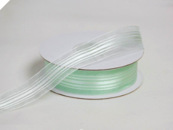 2.22 cm Satin Stripe Organza - Mint Green