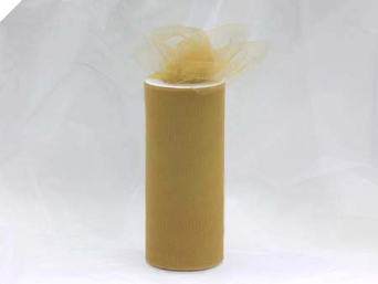 15.24cm x 22.86m Tulle Roll - Gold