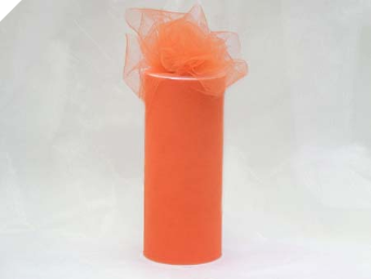 15.24cm x 22.86m Tulle Roll - Orange