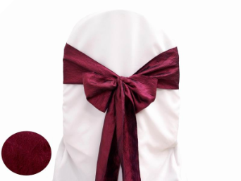 Burgundy Taffeta Crinkle Chair Sash
