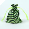 Animal Print Satin Bags 11cm x 14cm - Apple Green 10/pk