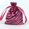 Animal Print Satin Bags 11cm x 14cm - Hot Pink 10/pk