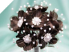 Faux Pearl Flower-Chocolate 72/pk
