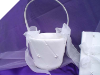 Rhinestone and Pearl Flowergirl Basket - White