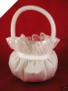 Satin Flower Girl Basket - White